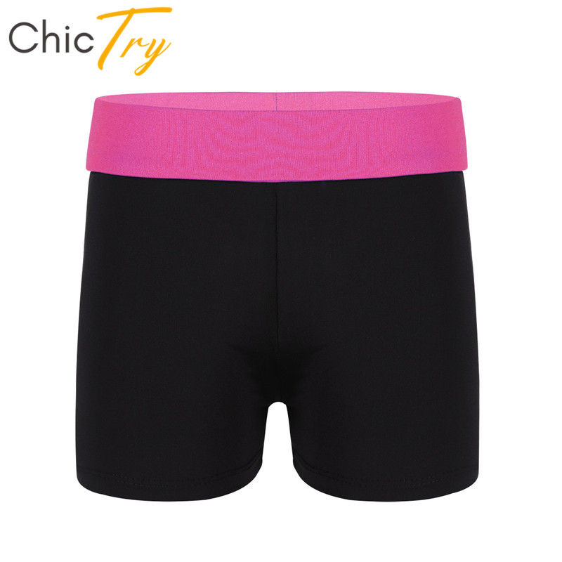 ChicTry Kids Teens Stretchy Gymnastics Shorts Activewear Yoga Slim Fit Sports Workout Shorts Child Girls Ballet Shorts Dancewear