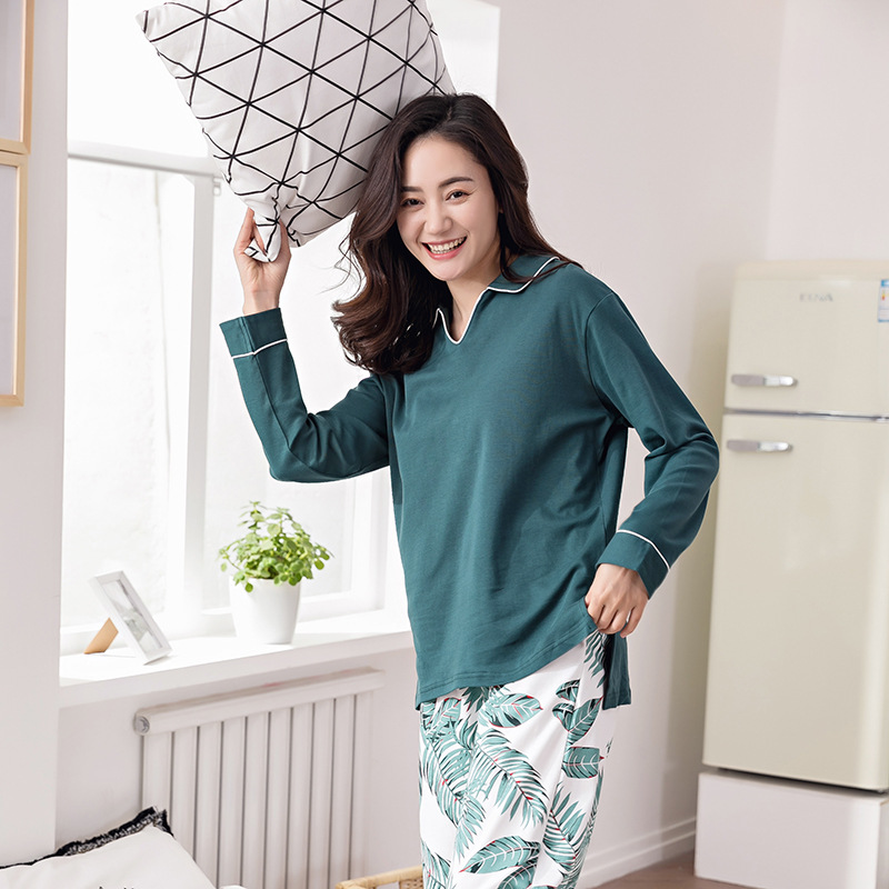 Pregnant women Spring Summer Cotton Print Leaves Leisure Pajamas Tracksuits Sets Maternity Autumn Nursing