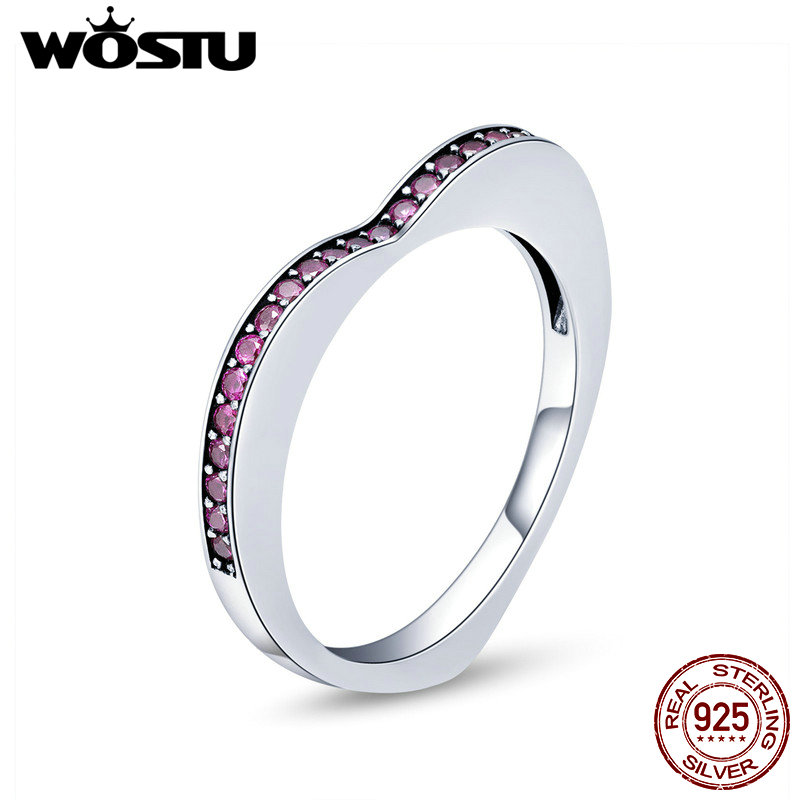 WOSTU Fashion New 100% 925 Sterling Silver Shining Heart CZ Finger Ring For Women Wedding Anniversary Silver Jewelry Anel CQR427