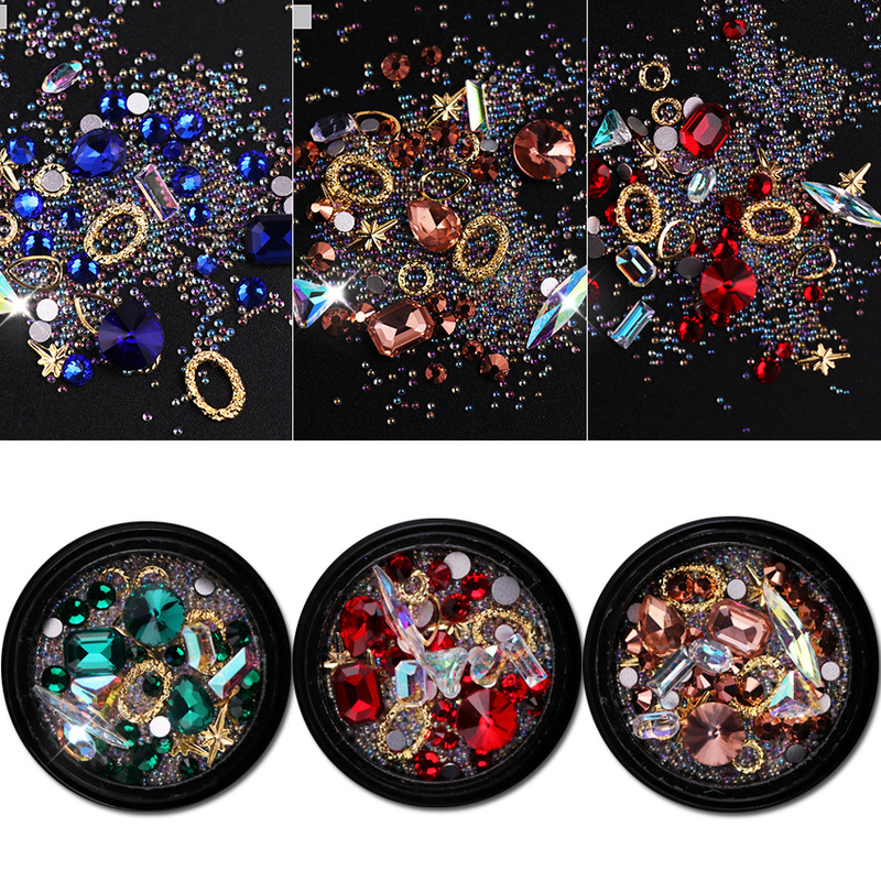 1 Box Mixed Colorful Nail Rhinestones For Nails 3d Crystal Stones For Nail Art Decorations Diy Design Manicure Nail Accessories Leather Bag
