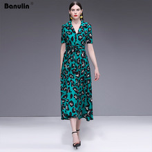 Banulin Fashion Designer Runway Dress High Quality 2019 Summer Womens Short Sleeve Deep V-neck Leopard Print Maxi Long