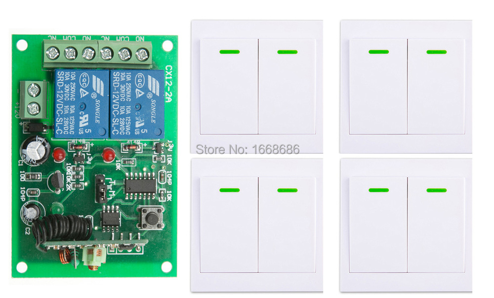 Digital Remote Control Switch DC12V 2CH Receiver +4*Wall Transmitter Wireless Power Switch 315MHZ Radio Controlled Switch Relay fk 922a 2 ch family use digital wireless remote control switch white