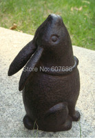 Cast Iron Rabbit Yard Art Metal Garden Decor Primitive Animal Door Stop Rustic Sculptures Rural Country
