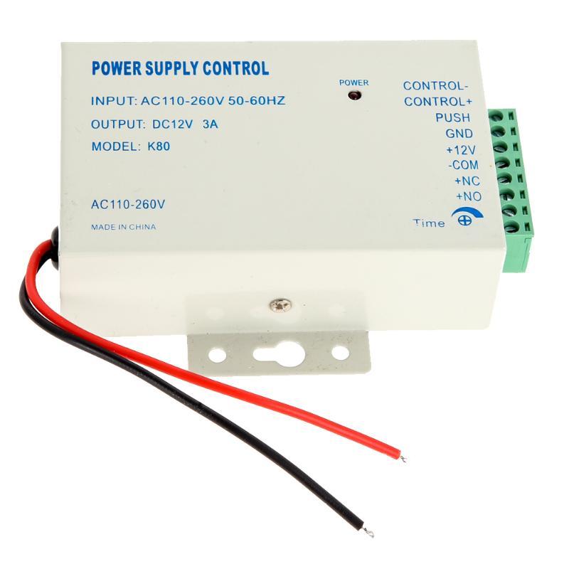 High quality K80 Power supply control 12V DC 3A AC Door Access Control System Access Control Systems 110~240V 12v 3a door access power supply for access control system