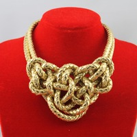 2015 2016 New Vintage Women Handmade Knit Choker Necklace Tuhao Chinese Knot Pendant For Women Statement