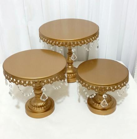 3pcs Set Wedding Decoration Gold Iron Cake Stand White Holder With Crystal  In Stands From Home