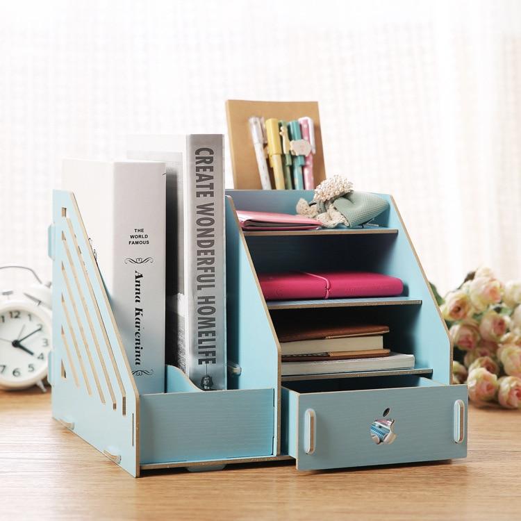 Fashion Candy Color Office Desk Organizer Wood Cabinet DIY