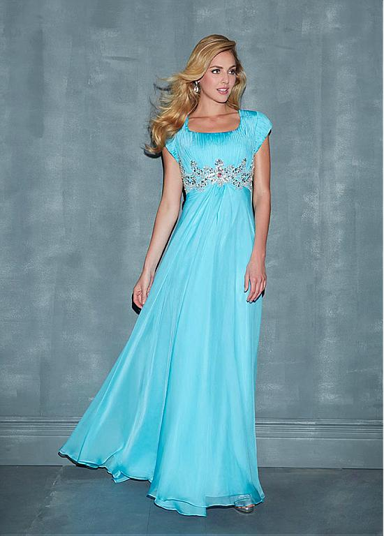 Blue Chiffon Long Modest Prom Dresses With Cap Sleeves A line Floor ...