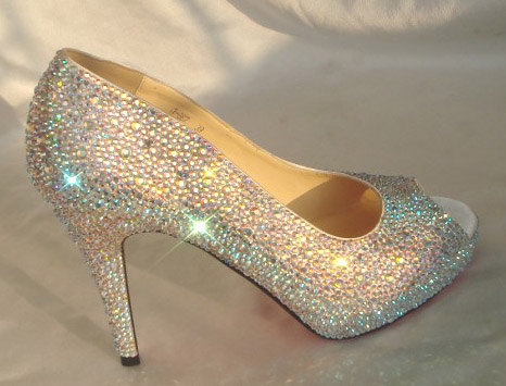 76424645a Peep Toe Wedding Shoes, Open Toe Bridal Shoes, AB rhinestone Sparkly Heels  Pump Bling Shoes, Red Bottom Heels Custom Bridal Heel