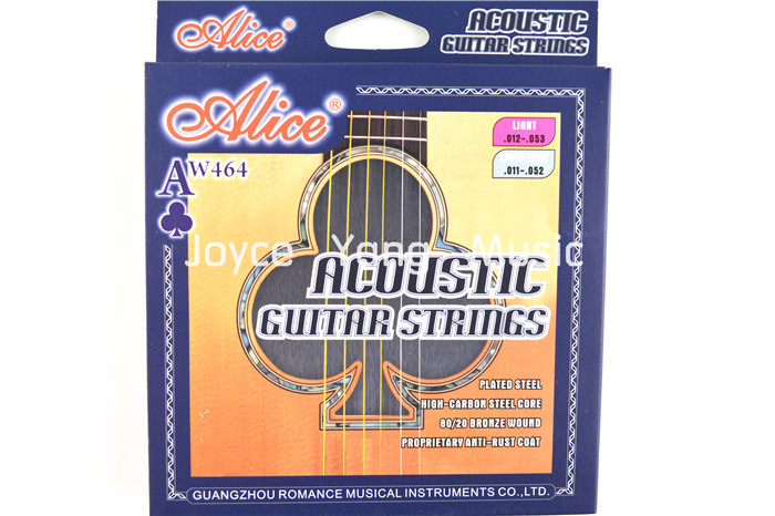 31fad8725e9 Alice AW464 Light Acoustic Guitar Strings Plated High-Carbon Steel Coated  80 20 Bronze Wound Nickel-Plated Ball-End Strings