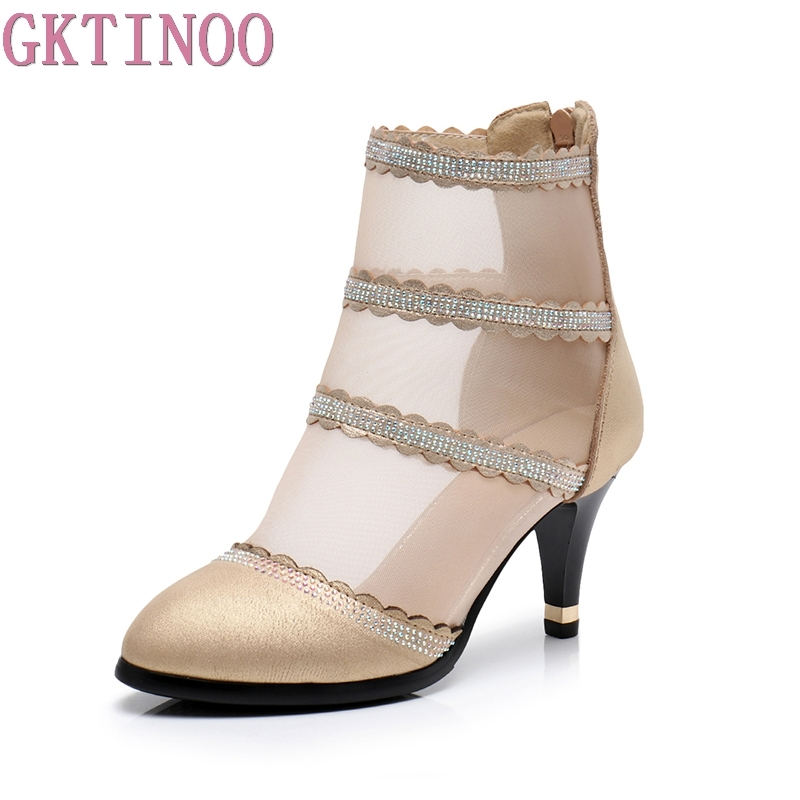 GKTINOO Spring summer 2018 new fashion pointed toe crystal mesh shoes high heel woman ankle boots for women big size botas mujer