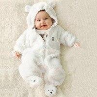 طفل الشتاء الوليد القطبية ابتزاز الفتيات ملابس لون نقي الرضع بذلة سميكة مقنع الصبي القدم حقائب الصوف المرجانية