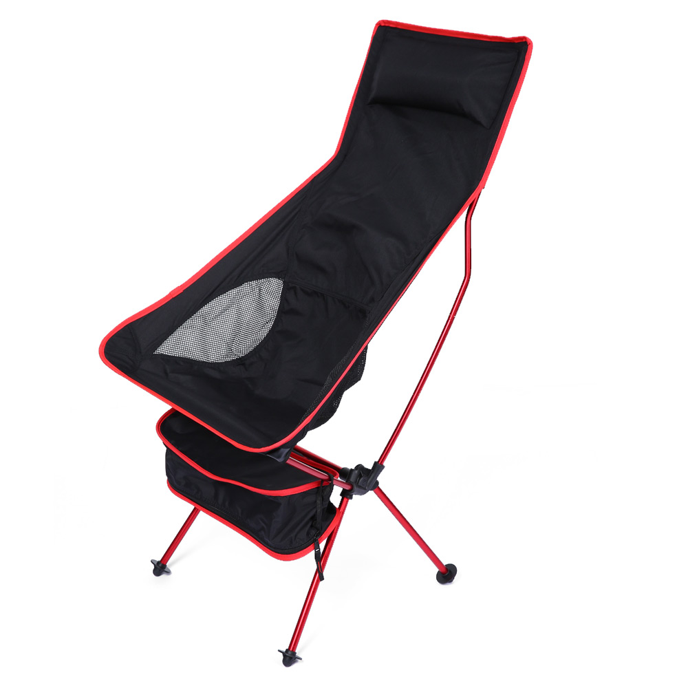 Lengthened Foldable Aluminium Alloy Outdoor Chair EPE Pillow Foot Strap Detachable Camping Breathable Fishing Garden Beach Chair