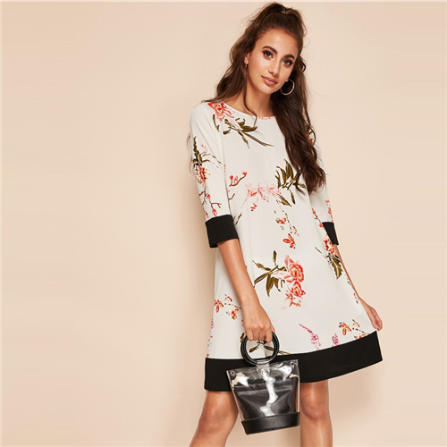 SHEIN Boho White Botanical Floral Print Two Tone Colorblock Straight Dress Women Summer Round Neck Short Solid Shift Dresses