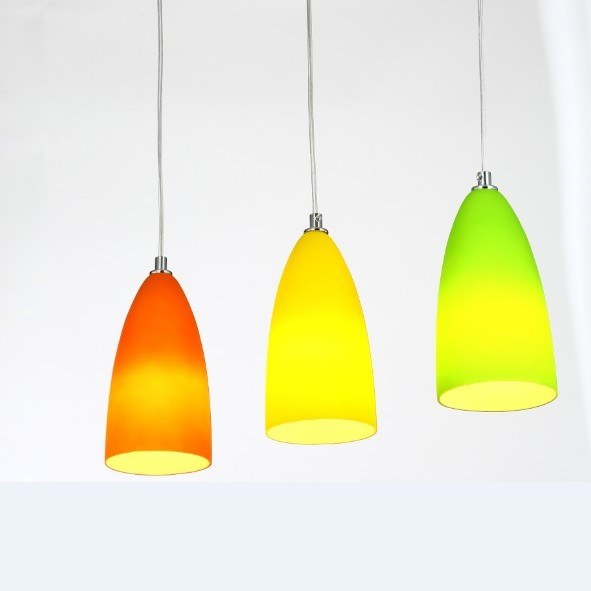 1/3 heads lamps colorful pendant lights restaurant round straight tube color glass single head milk shop lighting lamps FG960