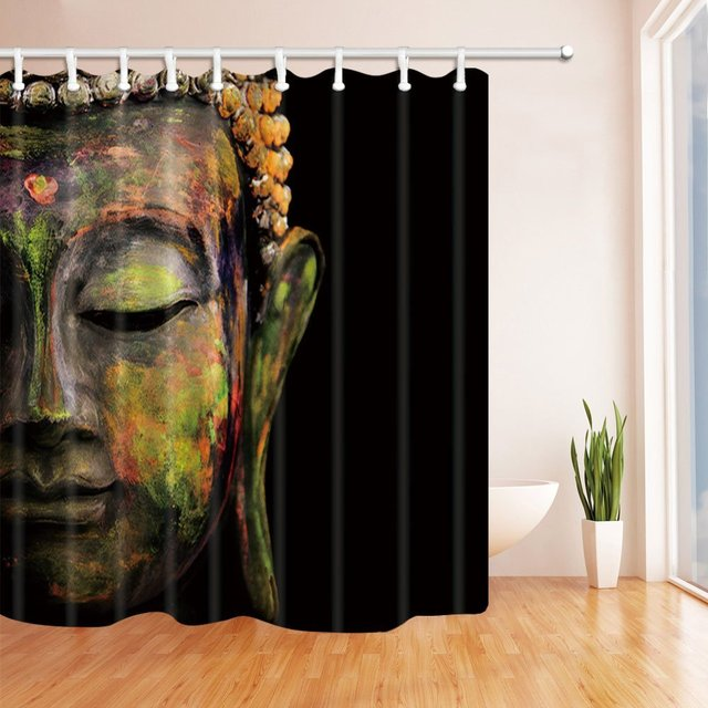 Zen Decor Colorful Buddha In Black Mildew Resistant Polyester Fabric Shower Curtains Bathroom