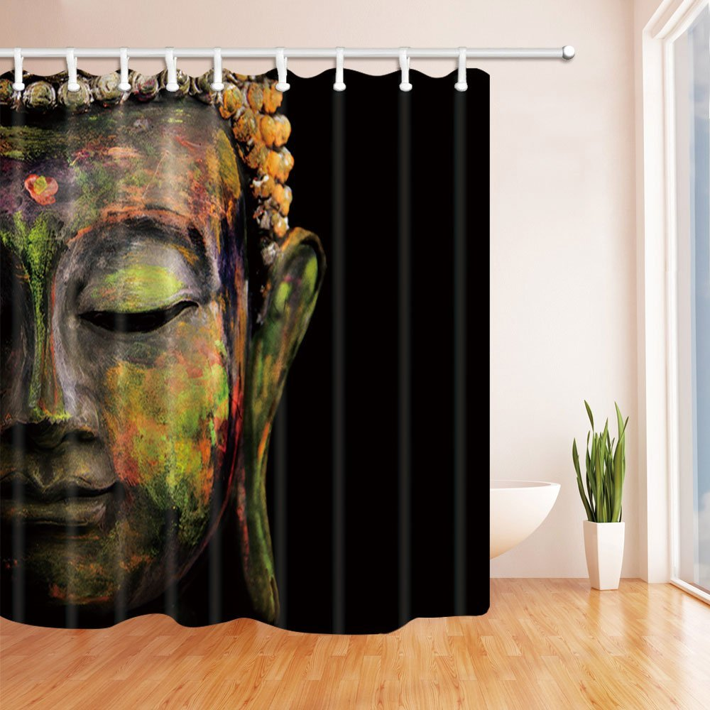 Zen Decor, Colorful Buddha in Black, Mildew Resistant Polyester Fabric Shower Curtains, Bathroom Long Shower Curtain