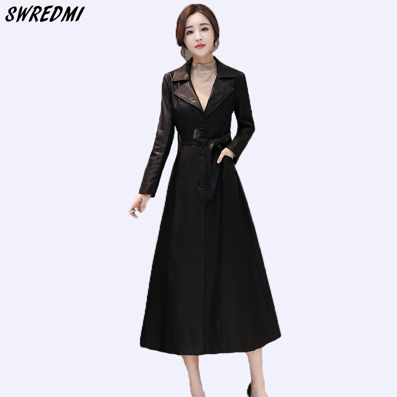 SWREDMI Autumn And Winter Outwear Women   Leather   Trench Slim Fashion Sashes   Leather   Clothing   Suede   Plus Size Ladies   Leather   Coats