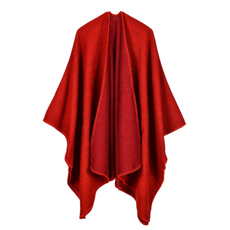 2019 New Women Poncho And Capes Cashmere Knit Thicken warm winter scarf solid color oversized Blanket lady shawl Coat