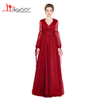 Summer Bohemian 2017 Vintage Princess Sexy Illusion Long Sleeves Burgundy Amazing Cheap Prom Dresses Evening Gown
