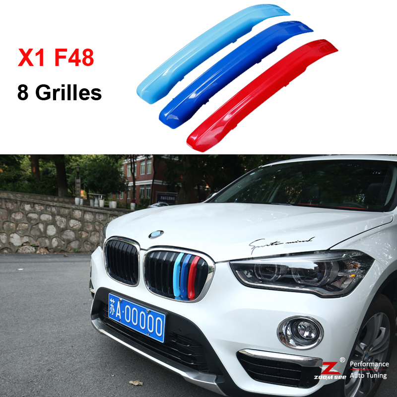 3D M Styling Front Grille Trim motorsport Strips grill Cover performance Stickers for 2016-2017 BMW X1 F48 8 Grilles motorsport manager [pc jewel]