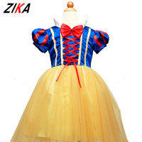 ZIKA 2017 Girls Summer Dress Snow White Princess Dresses Children Cosplay Party Costume Halloween Kids Clothes Christmas Gifts