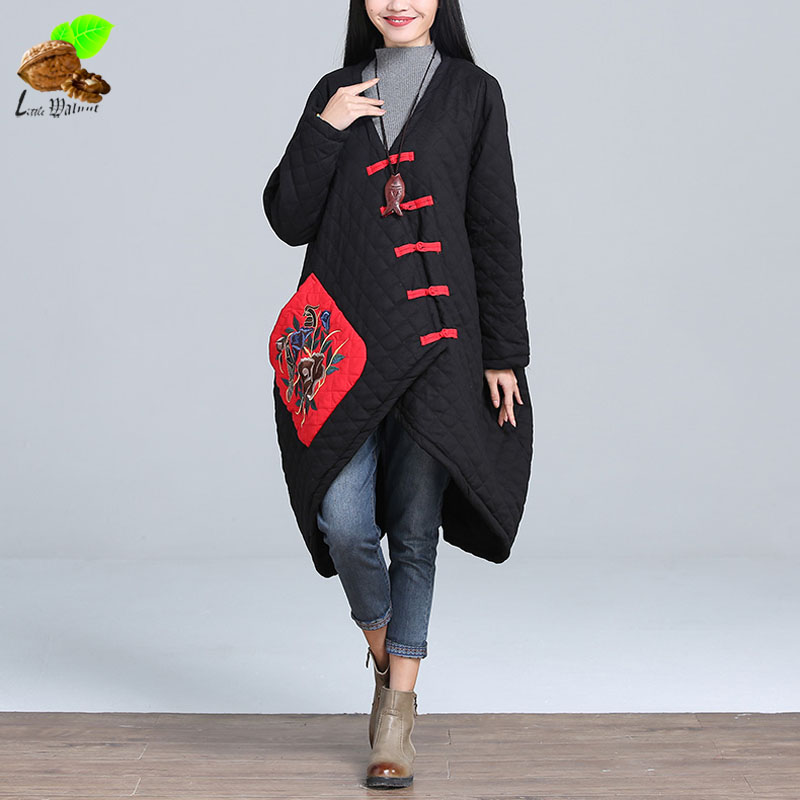 Women Winter National Trend Fluid Collarless Loose Casual Embroidery Flower Irregular V-Neck Wadded Jacket Overcoat Outerwear [aigyptos lz]winter novelty personality vintage exotic fluid ultra long national trend plus velvet wadded jacket cotton padded
