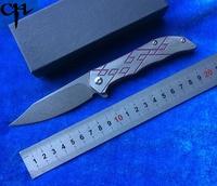 CH3008 Flipper ball bearing folding knife D2 blade TC4 titanium handle outdoor camping hunting pocket fruit knife EDC tool|Knives| |  -