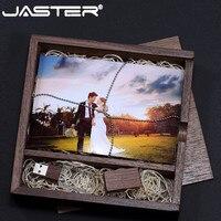 JASTER USB 2.0 Crystal usb +wood box usb flash drive memory stick pen drive 4GB 8GB 16GB 32GB 64GB u disk gifts
