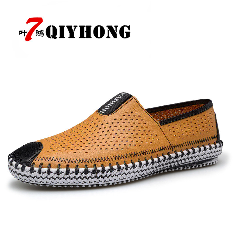 QIYHONG 2017 Men Shoes Summer Fashion Breathable Men Casual Shoes Elastic Band High Quality Leather Male Shoes Plus Size 38-45 newsosoo fashion brand summer denim jeans men mid waist cotton loose elastic men s jeans high quality four season male pants