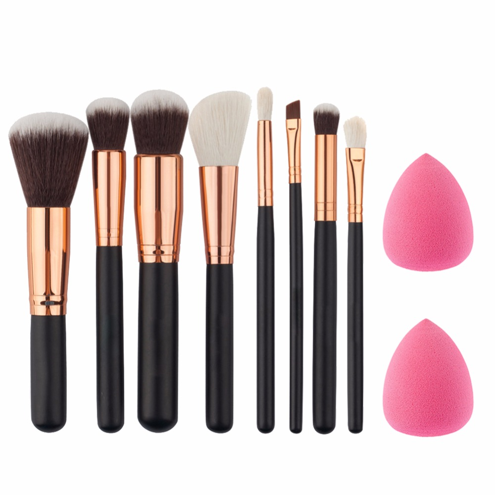 8Pcs Rose Gold Makeup Brushes Eye Shadow Powder Blush Foundation Brush+2pc Sponge Puff Make Up Brushes Pincel Maquiagem Cosmetic hot sale 6pcs set gold rose shaped makeup brushes foundation powder make up brushes blush brush set pincel maquiagem