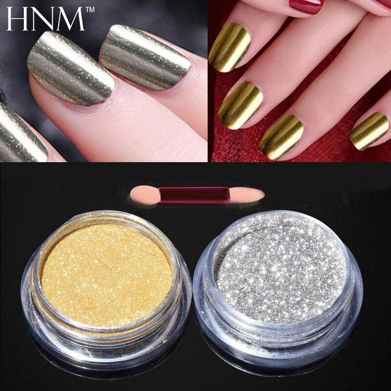 Hnm 2pcs Mirror Powder Gold Silver Pigment Dip Nail