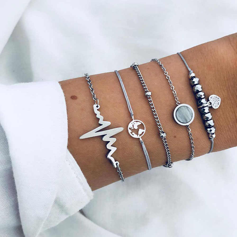 FAMSHIN Bohemian Map Stone Beads Charm Bracelets Set For Women Fashion Electrocardiogram Chain Link Bracelet Female Jewelry Gift