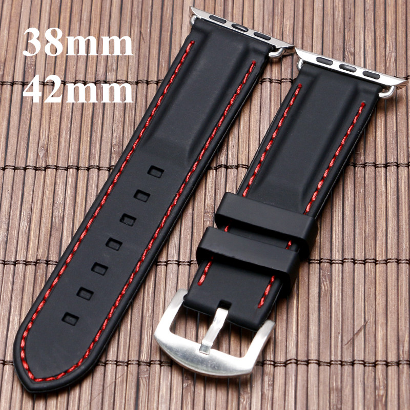 38mm 42mm For iWatch Apple Watchband Mens Black Silicone Watch Strap Band White Red Line Stitching Soft Diver Waterproof eache silicone watch band strap replacement watch band can fit for swatch 17mm 19mm men women