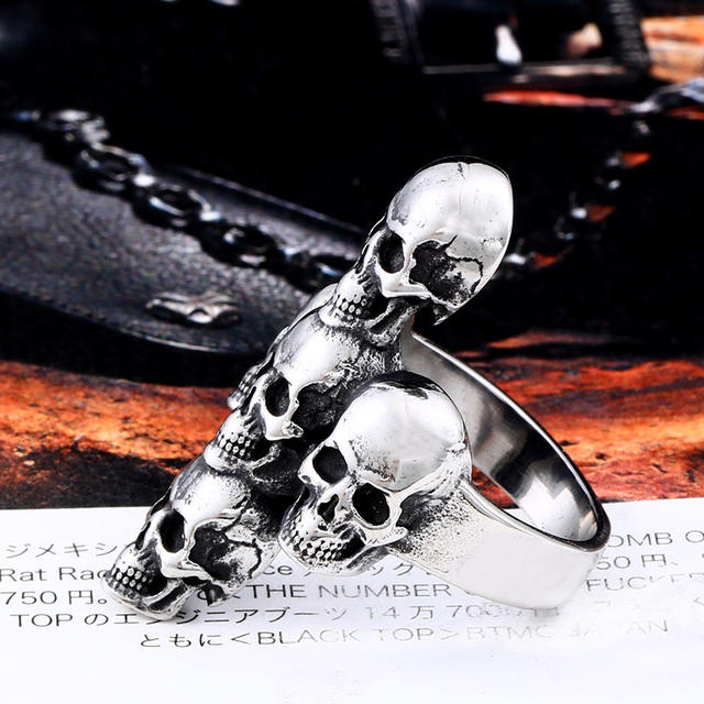 STAINLESS STEEL SKULL CROSS RINGS