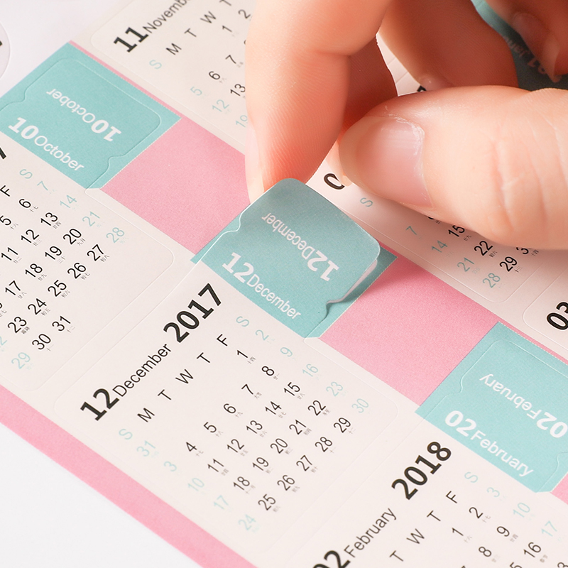(8pcs/lot) 2018 Monthly Calendar Index Stickers Lable Marker Notes Notebook Category Sticker Planner Accessories Slip Sheets