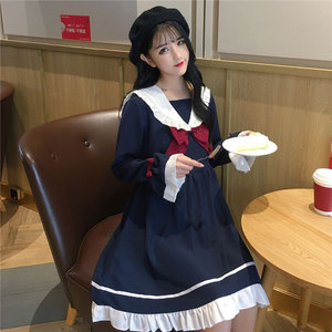 Summer Girl Cartoon Blue White Sailor Collar Dresses School Uniform Girls Preppy Cute Tie Short Sleeve Casual Dress