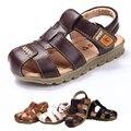 2016 Venta Caliente Niños zapatos de Niños Zapatos de Bebé Suave de Alta Calidad antideslizante Zapatos de Playa Sandalias De Cuero Ocasionales