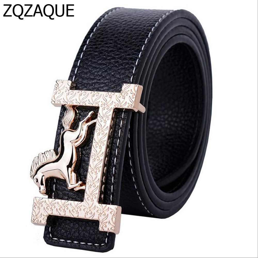 2019 New Classic Style Horse Pattern Gold Buckle Belts For Women and Men Fashion All-match Jeans Waistbands Nice Straps SY099