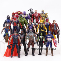 Avengers Iron Man Captain America Hulk Thor Thanos Spiderman Loki Black Panther Hulkbuster PVC Action Figure Set Toys for Kids