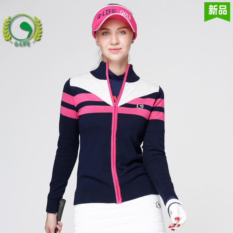 G-LIFE2017 new women golf clothes lady autumn sweater winter knitted warm wool sweater girl sports outwear thermal coat blktee new golf winter skirts wool thicken thermal short skirt autumn sportswear white navy stripped bright 2 colors s xl lady
