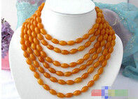"LL<<< 0286 fine word LONG 100"" 13MM RICE NATURE YELLOW NECKLACE s511 Women jewelry Wholesale(China)"