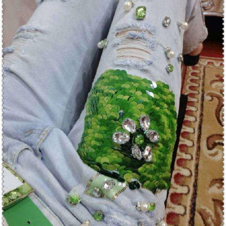 New Spring font b Women s b font Sparkling Diamond Jeans With Hole Embroidered font b