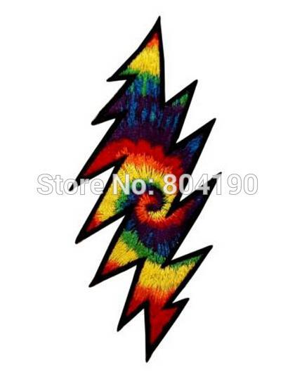 4 8 Grateful Dead Tie Dye Lightning Bolt Music Band Heavy Metal Iron On Patch Tshirt