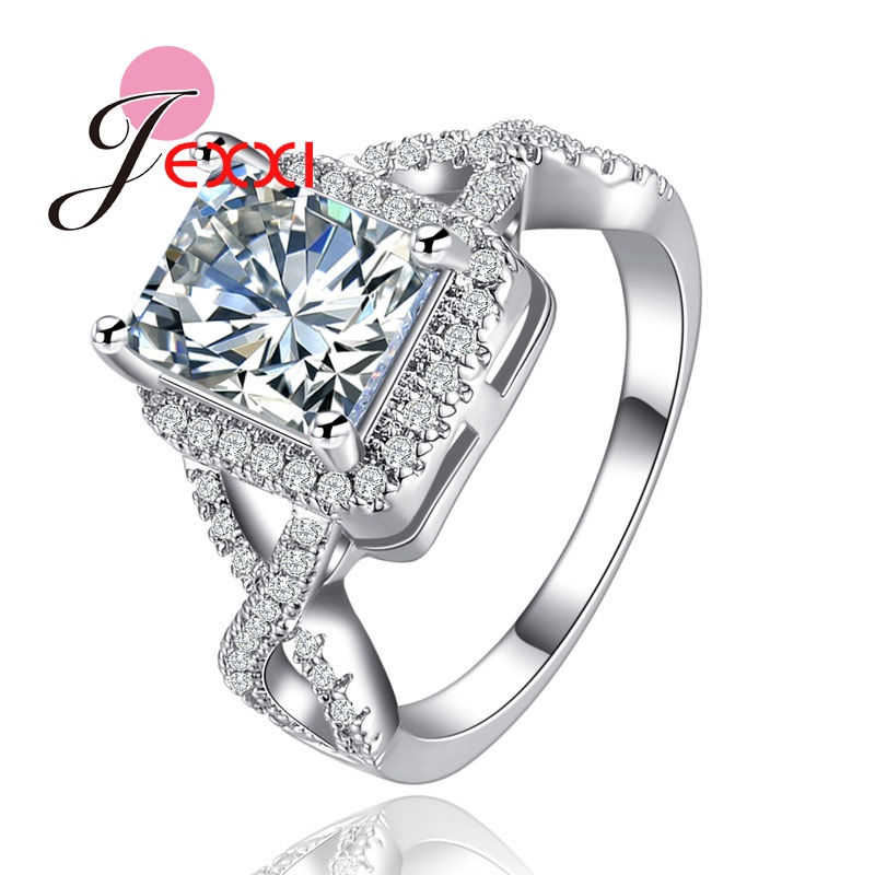 PATICO Fashion Sterling Silver 925 Bridal Wedding Rings Square Cubic Zircon Crystal Fashion Wedding Band Finger Rings Jewellery