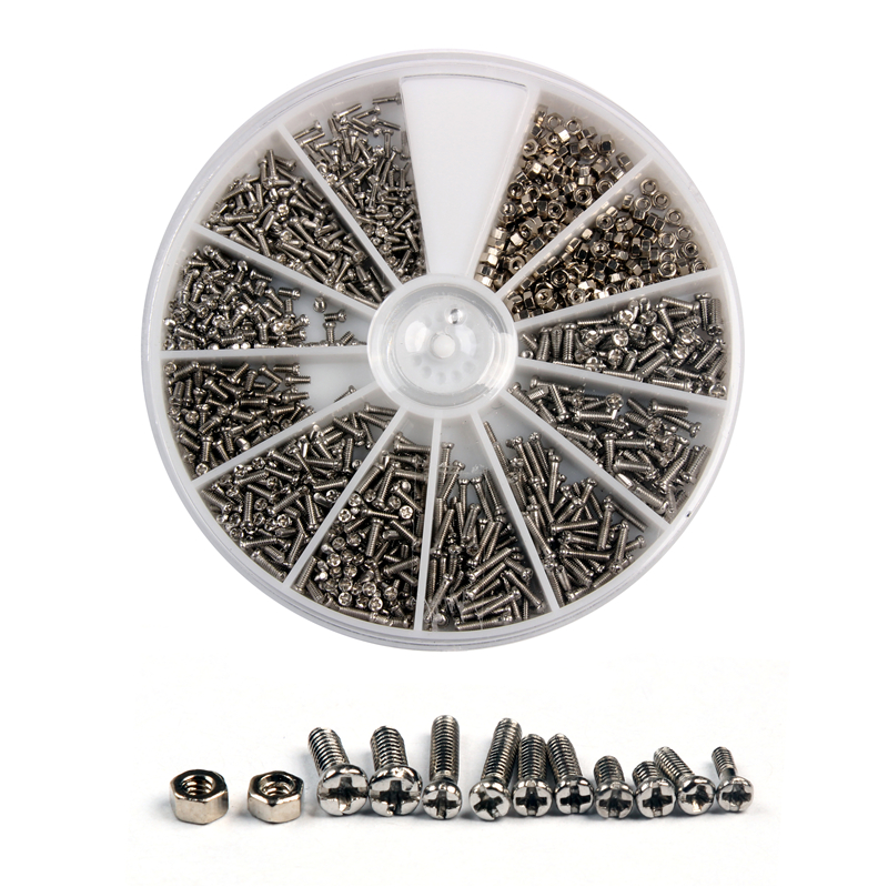 1000Pcs Stainless Steel Screws and Nut set Assortment Kit Repair Part Tools For Watch Eye Glasses Clock new arrvial 1000pcs set assorted screws for watch clock eye glasses watchmaker repair part tool hot sale