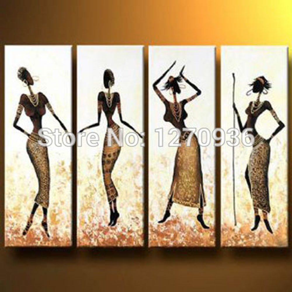 Pretty sexy beautiful four women is dancing with slim and short skirt 100% handmade oil painting On Canvas Landscape Paintings