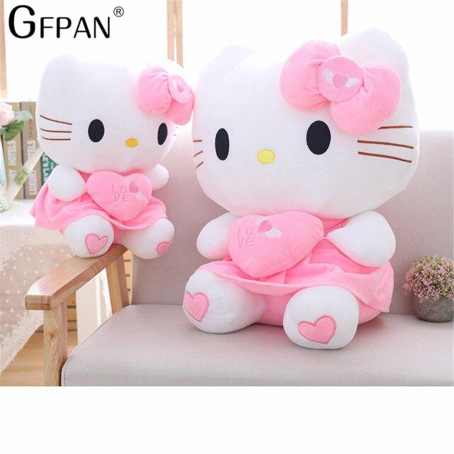 a9ba93b4139 55cm 1PC Cartoon Giant Kawaii Pink Hello Kitty Cats Plush Doll Cute Kitty  Animal Cat Doll