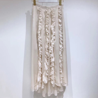 Women white silk Skirt Fashion A line Elegant Lady Skirts 2019 New Women Knee Length Summer Silk Skirts