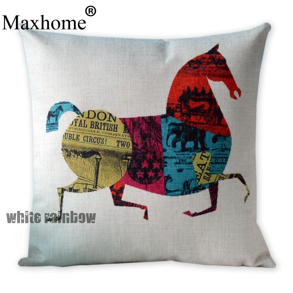 Retro Cushions Us 9 99 British Art Cotton Linen Pillowcase Retro Chinese Horse Cushions Home Decor Decorative Pillow Sofa Throw Pillows Almofadas 45 45 In Cushion